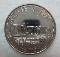 1992 CANADA 25¢ QUEBEC BRILLIANT UNCIRCULATED QUARTER COIN
