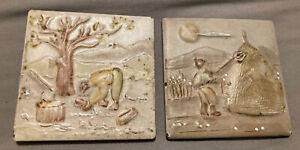 "Set Of 2 Vintage Italian Ceramic Tiles 4"""