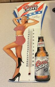 Coors Light Beer Tin Metal Sign thermometer Heather Kozar Playmate Year signed