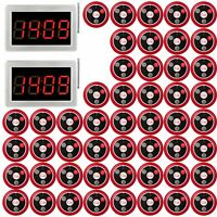 Restaurant Wireless Guest Waiter Calling System+2*Receiver Host+50*Button Pagers