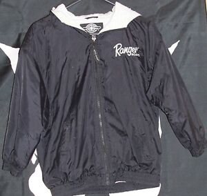 Boys Size Medium Black Ranger Boats Fishing Coat Jacket Hooded Boating M Girls