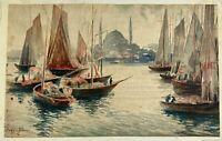 B. Ivanoff Watercolor Painting Seascpae Russian Unframed Mounted 7 x 11.5