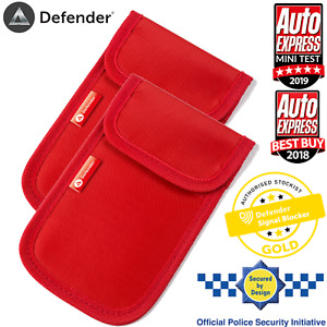 2 x Genuine Defender Signal Blocker Car key Signal Jamming Pouch RED UK Stock