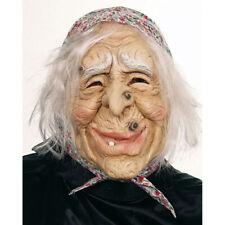 Hexen Maske mit Kopftuch Haare Hexenmaske Fasching Karneval Masken Halloween