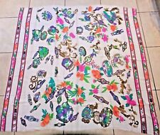 Leonard Paris stunning silk wool stole wrap giant scarf 140x150cm £500 BN