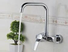 Brass Kitchen Sink Faucet Bathroom Chrome Polished Hot Cold Mixer Tap Wall Mount