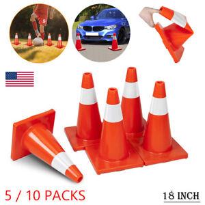 "5/10PCS 18"" Reflective Orange Safety Traffic Cones Trucks Road Parking Safe Cone"