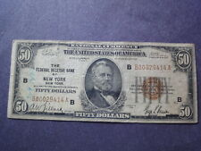 USA  1929  $50 Federal Reserve Bank New York, N. Y. Free Shipping