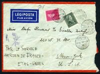 HUNGARY COVER 1/13/39 VIA AIR FRANCE  TO NEW YORK