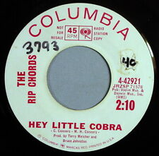 "HEAR IT 60's Hot Rod Promo 45 rpm The Rip Chords ""Hey Little Cobra"" from 1963"