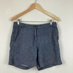Trenery Womens Shorts Size 6 Blue Low Rise Bermuda French Linen Blend 228.14