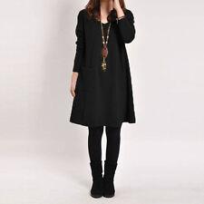 Zanzea Fashion Long Sleeve Baggy Cotton Mini Dress Pullover Top Blouse Clubwear