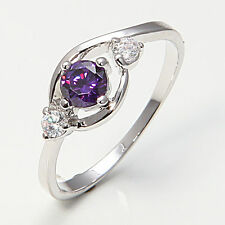 Stunning 10KT White Gold Filled Amethyst look Ladies Solitaire Ring Size 7.5