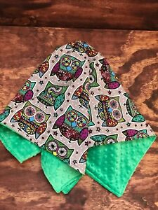 Custom Made Coming Home/Shower/Gift Baby Blanket Colorful Owls Minky 29 x 29