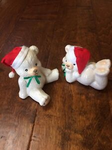 """5"""" porcelain White Bears w/ Santa Hats Laying down sittng up Collectible Holiday"""