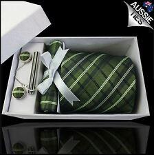 Green, Black and White Plaid Tie Set