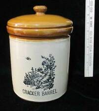 Cracker Barrel Canister Crock Staffordshire England Pottery Heavy Vintage Brown