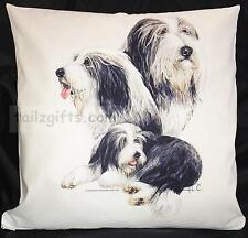More details for bearded collie group breed of dog cotton cushion cover - perfect gift