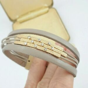 Leather style matt gold crystal bracelet cuff magnetic clasp taupe colour