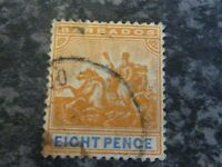 BARBADOS POSTAGE STAMP SG142 EIGHT PENCE ORANGE FINE USED