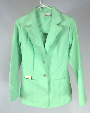 NOS Vintage 1970s Womens Green Jacket Sports Coat Blazer Texture Polyester 15-16