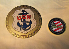 US NAVY CAR PLAQUE & NATIONAL GUARD TABLE MEDAL