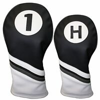 Golf Headcover Black and White Leather Style 1 & H Driver and Hybrid Head Cover