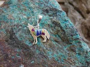 Southwestern Howling Wolf Dog Sterling Silver Multi Gem Stone & Opal Pendant W4