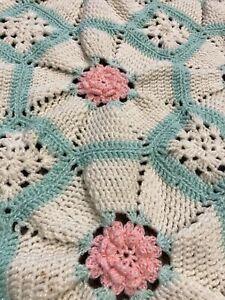Handmade Crochet Baby ? Blanket Throw Pink Roses Scalloped Edge Shabby Excellent