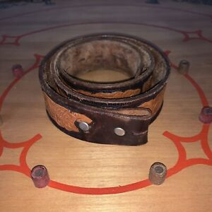 """Vintage Women 32 Brown Leather Tooled Floral BOHO Hippie Western 35.5"""" L 1.5"""" W"""