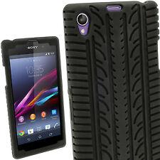 Schwarz Silikon Reifen Hülle Case Tasche für Sony Xperia Z1 C6902 + Schutzfolie