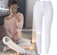 Ladies Distressed White Rip Knee Skinny Jeans Australia Size 8 10 12 14 RRP $50