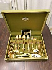 54 pc Vintage Lifetime Golden Giftware Cutlery 24K Gold Electroplate Serv for 8