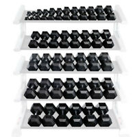 Rubber Coated Hex Dumbbells by Body-Solid SINGLES ranging from 3 lbs to 120 lbs