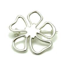 Solid Hallmarked 925 New Handmade Big Sterling Silver Brooch Flower Genuine
