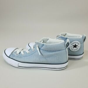 Converse Junior Chuck Taylor Kids US 3 All Star Mid Top Sneakers Gray Blue