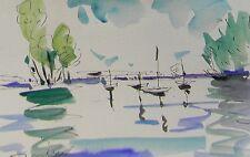 JOSE TRUJILLO ORIGINAL Watercolor Painting IMPRESSIONIST SUMMER BOATS SAILBOATS
