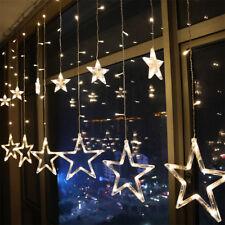 LED Lichtervorhang Weihnachtsbeleuchtung Lichterkette Licht Fenster Deko Sterne