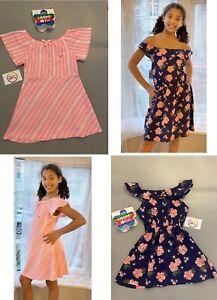 BNWT girls 2 PACK cotton floral & pink stripe summer beach sun dress clothes
