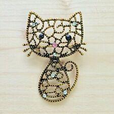 Cat Brooch Pin Badge Gift Silver Gold Jewellery Rhinestone Vintage Style Ladies