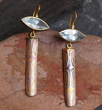 Ohrschmuck Ohrringe Mokume Gane Gold 750/900 Palladium 500  Aquamarin