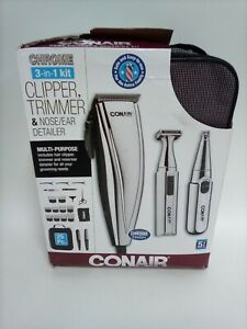 ConairMAN 3-in-1 Chrome Haircut Clipper Trimmers Grooming Kit, 25 Pieces