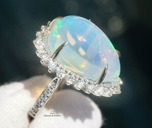 Opal Ring Gold Diamond Natural 14k GIA Certified 14.46 CTW RETAIL $14300