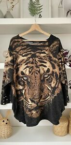 LAYERS gorgeous tiger print cotton blend tunic-jumper with pockets! M, Uk12
