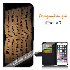 Apple iPhone 7 Wallet Flip Phone Case Cover Bible Verse John Y00965