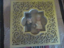 Vintage wedding couple celluloid kewpies, framed shadowbox