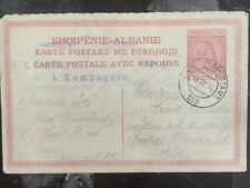 1918 Albania Postcard postal stationery card Cover to Czechoslovakia