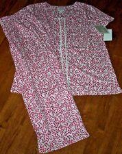 NWT Aria White/PINK FLORAL LEAVES Jersey Knit Pajama CAPRI Pants/Top Set M LACE