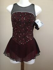 Icings NWT BLACK/RED COMPETITION ROLLER ICE SKATING DANCE BATON DRESS