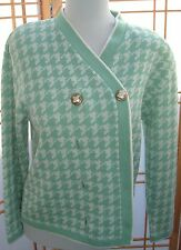 Green and White Houndstooth Vintage Ami Knits Cardigan Sweater Sz 12 Made in USA